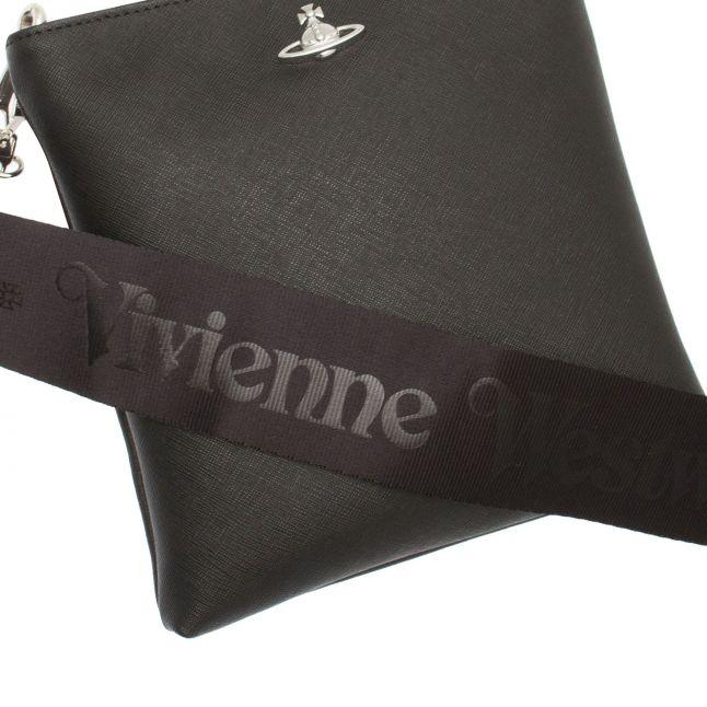 Mens Black/Silver Orb Square Crossbody Bag