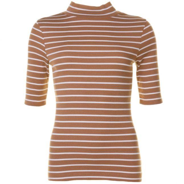 Womens Manuka & Classic Cream Duty Stripe S/s Polo Top