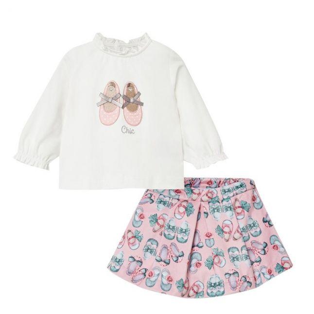 Mayoral Infant Rose Shoes Top + Skirt Set