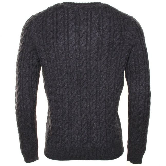 Mens Charcoal Marl Crew Cable Knitted Jumper