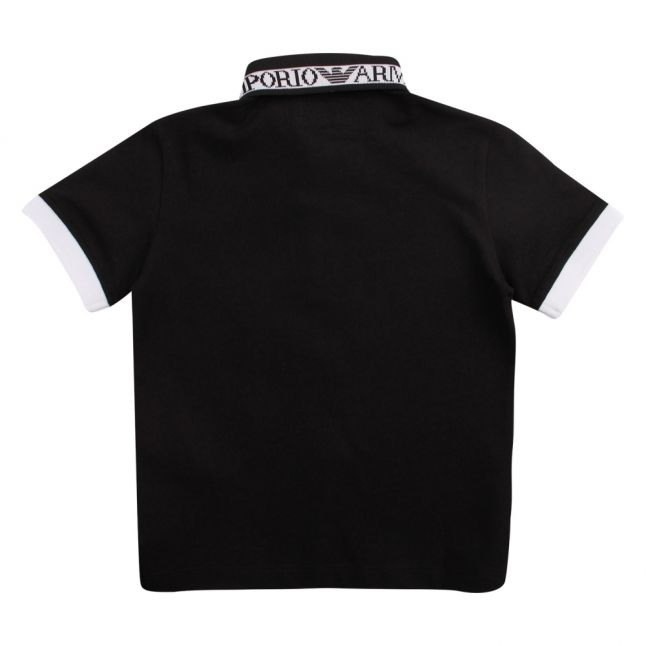 Boys Black Logo Trim Collar S/s Polo Shirt