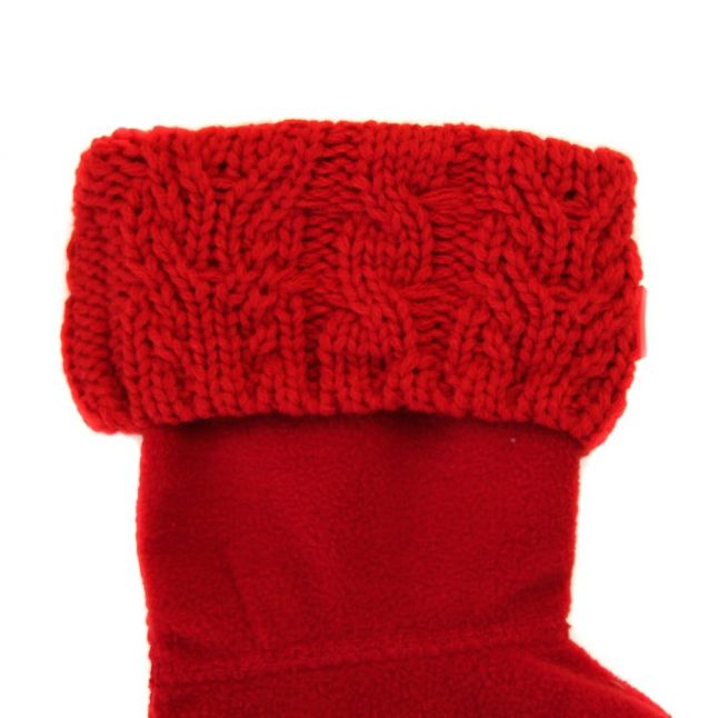 Kids Military Red Dual Cable Knit Wellington Socks (4-6 - 3-5)