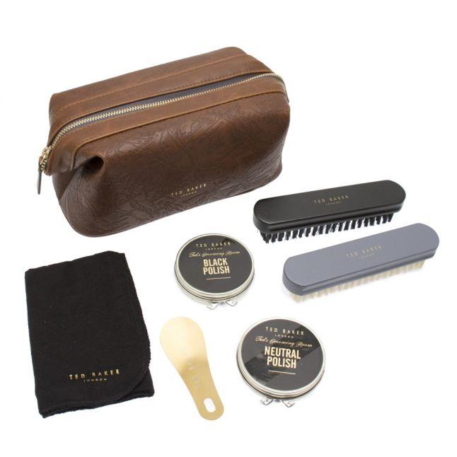 Mens Brown Embossed Shoe Care Kit