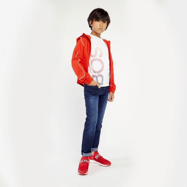 Boys White Gradient Logo S/s T Shirt