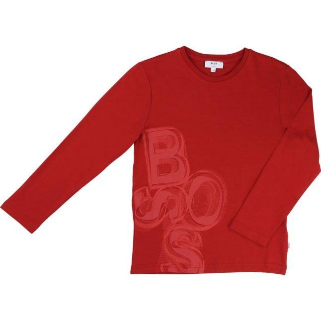 Boys Red Logo L/s Tee Shirt