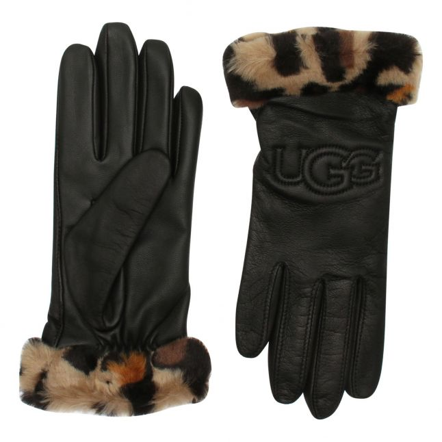 Womens Black/Leopard Faux Fur Tech Leather Gloves