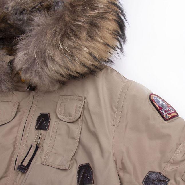 Girls Cappuccino Gobi Fur Hooded Jacket