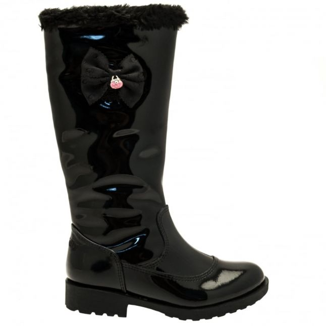 Girls Black Patent Frances Tall Hairclip Boots (26-35)