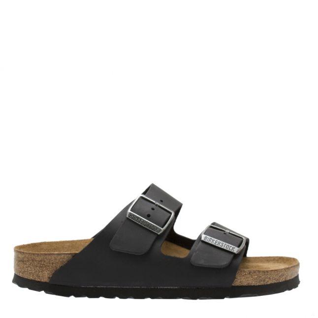 Womens Black Oiled Leather Arizona Slide Sandals