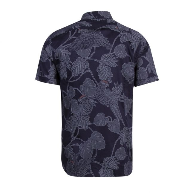 Mens Navy Downdog Print S/s Shirt