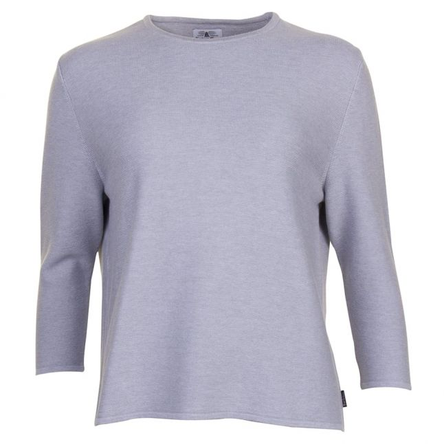 Heritage Womens Grey Cross Back Crew Knitted Jumper