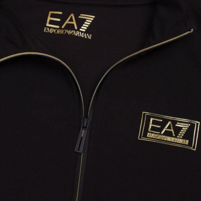 Mens Black Gold Label Hooded Zip Through Sweat Top
