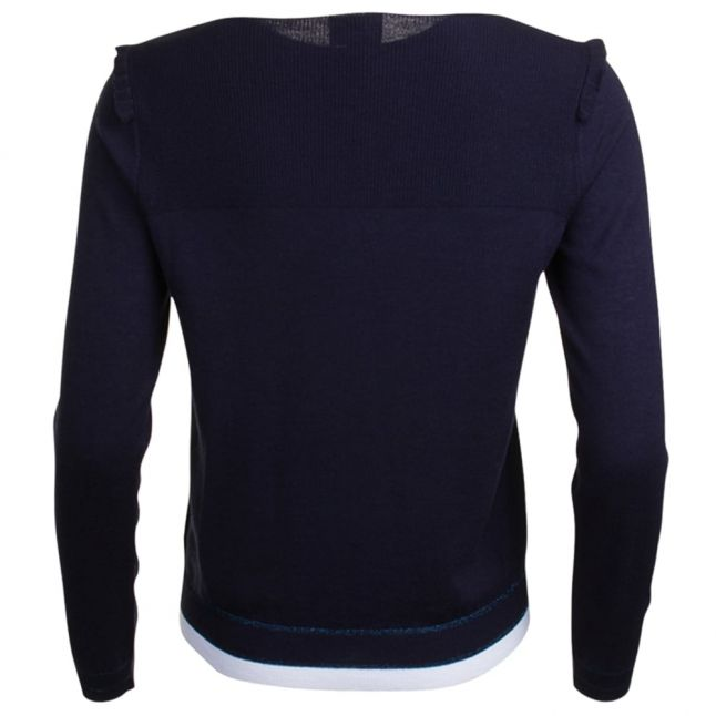 Womens Navy Contrast Trim Knitted Jumper