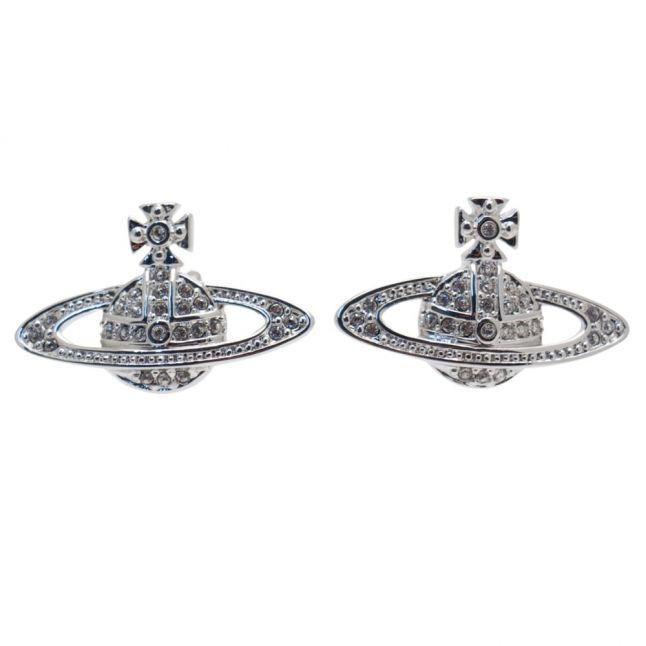 Womens Silver Mini Bas Relief Earrings