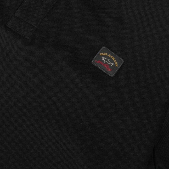 Mens Black Classic Logo Custom Fit S/s Polo Shirt