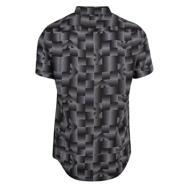 Mens Black Eagle Print Casual S/s Shirt