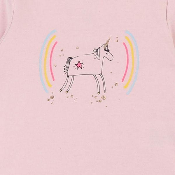 Baby Pink Unicorn Rainbow L/s T Shirt