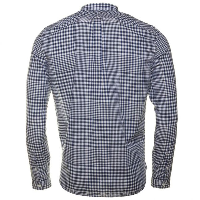 Mens French Navy Distorted Gingham L/s Shirt