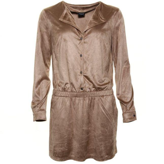 Womens Dusty Camel Vienan L/s Dress