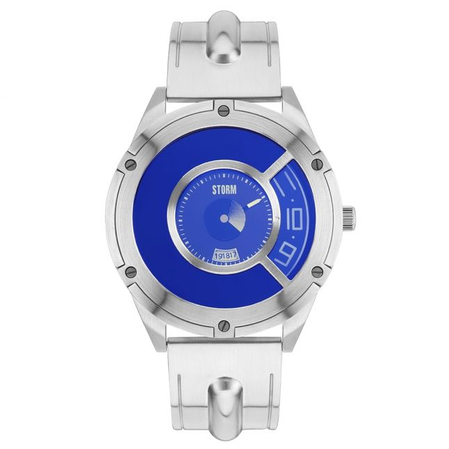 Mens Lazer Blue Dial Silver Steffentron Watch