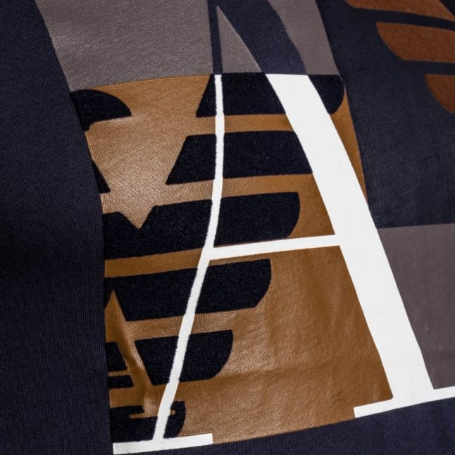 Mens Blue Contrast Box Logo Regular Fit S/s Tee Shirt