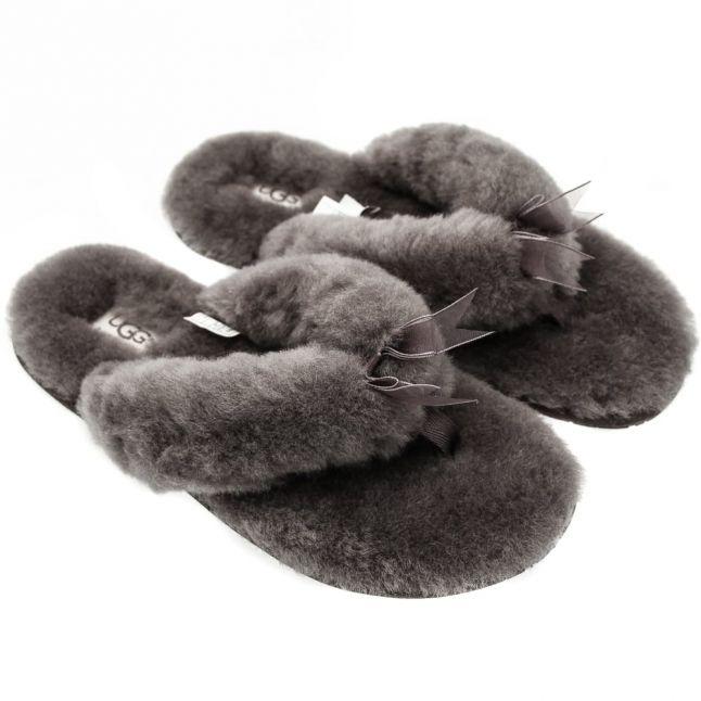 Womens Grey Fluff Flip Flop II Slippers