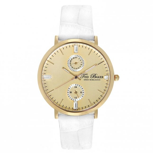 Womens Gold Dial White Chrono Leather Strap Watch