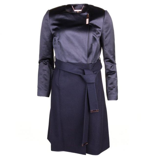Womens Navy Emlyyn Wrap Coat
