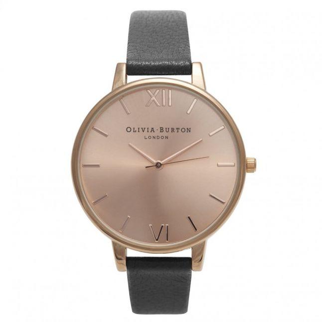Womens Black & Rose Gold Big Dial Watch