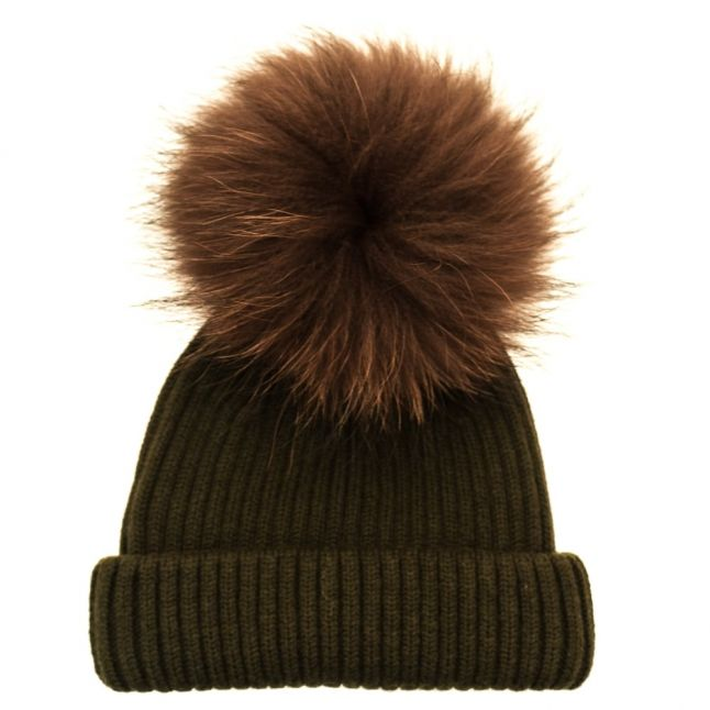 Bklyn Womens Army Green & Brown Merino Wool Hat With Changeable Pom