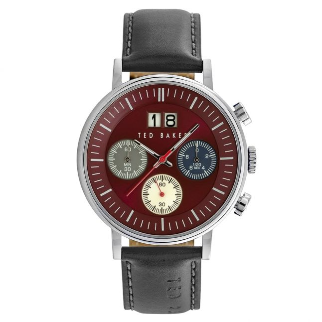 Mens Burgundy Dial Chrono Leather Strap Watch