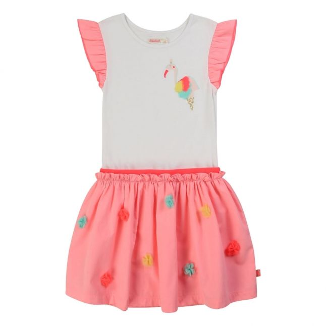Girls White/Pink Flamingo Cone Dress