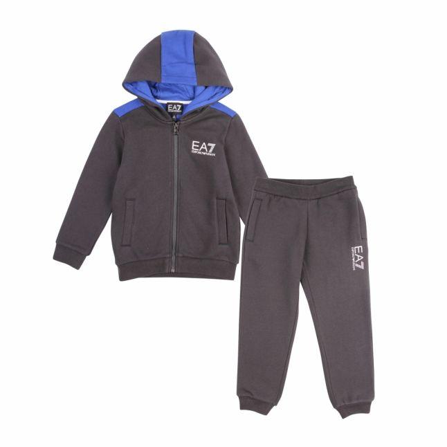 Boys Navy Branded Hooded Zip Tracksuit