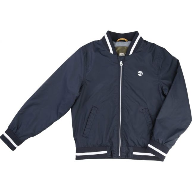 Boys Navy Branded Bomber Jacket