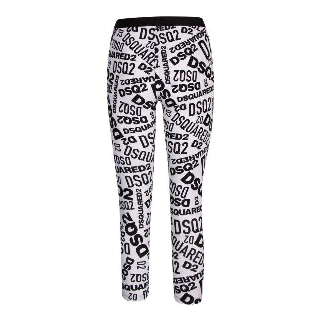 Womens Black/White Printed Logo Leggings