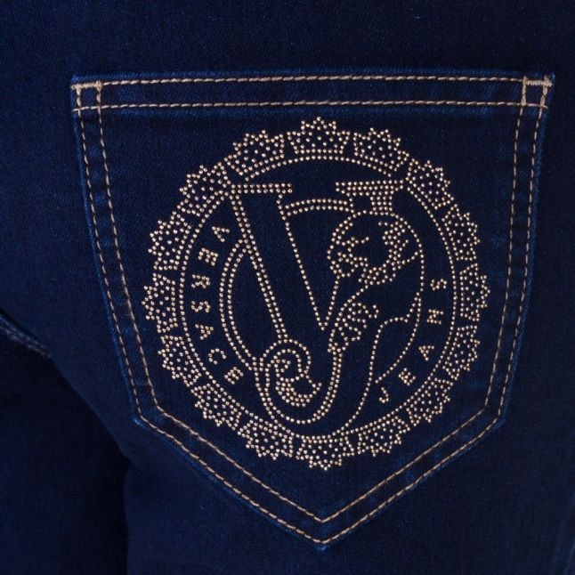 Womens Blue Wash Flower Logo Pocket Skinny Fit Jeans