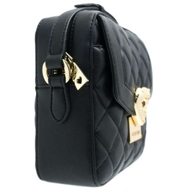 Womens Black Heart Quilted Cross Body Bag