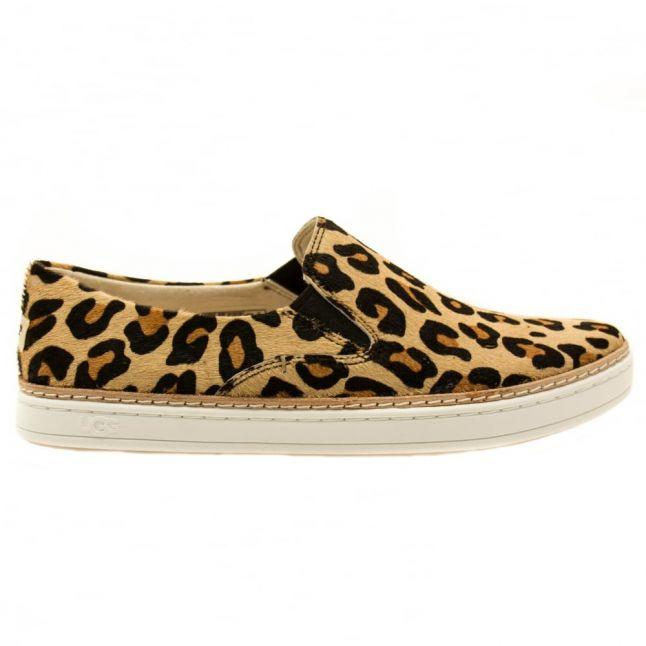 Womens Chestnut Leopard Keile Calf Hair Pumps