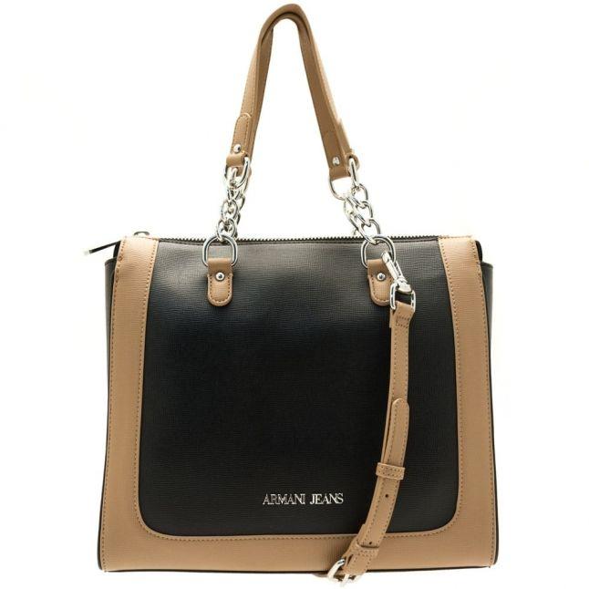 Womens Black & Warm Sand Colour Block Shopper Bag