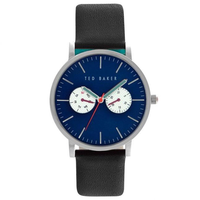 Mens Blue Dial Black Multifunctional Strap Watch