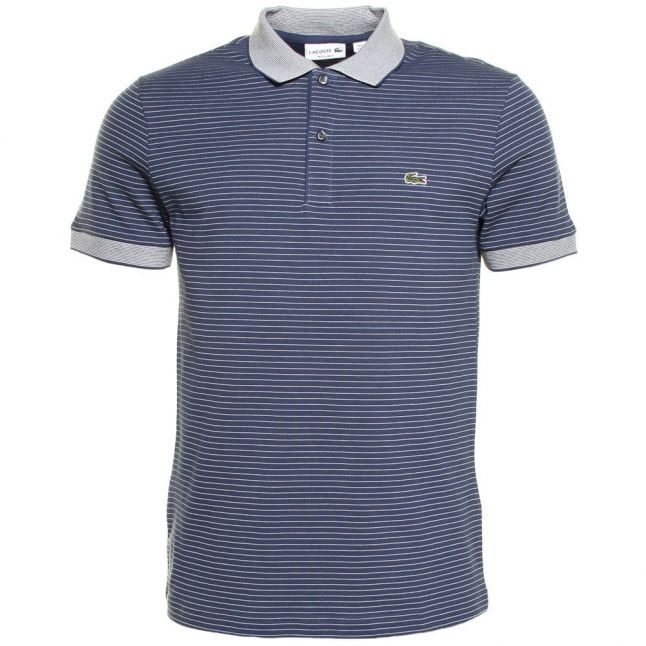 Mens Philippines Blue Fine Striped Regular Fit S/s Polo Shirt