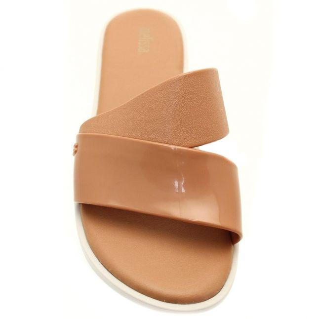 Womens Tan Contrast Bronzer Slide Sandals