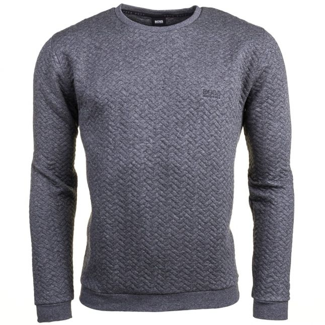 Mens Medium Grey Loungewear Quilted Crew Sweatshirt