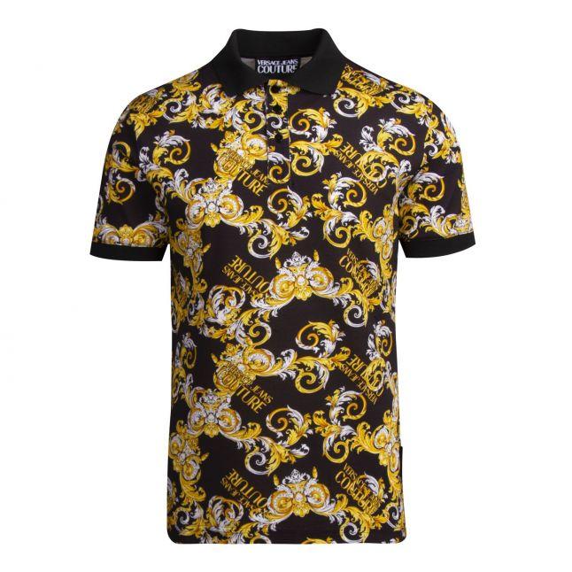Mens Black Baroque Print S/s Polo Shirt