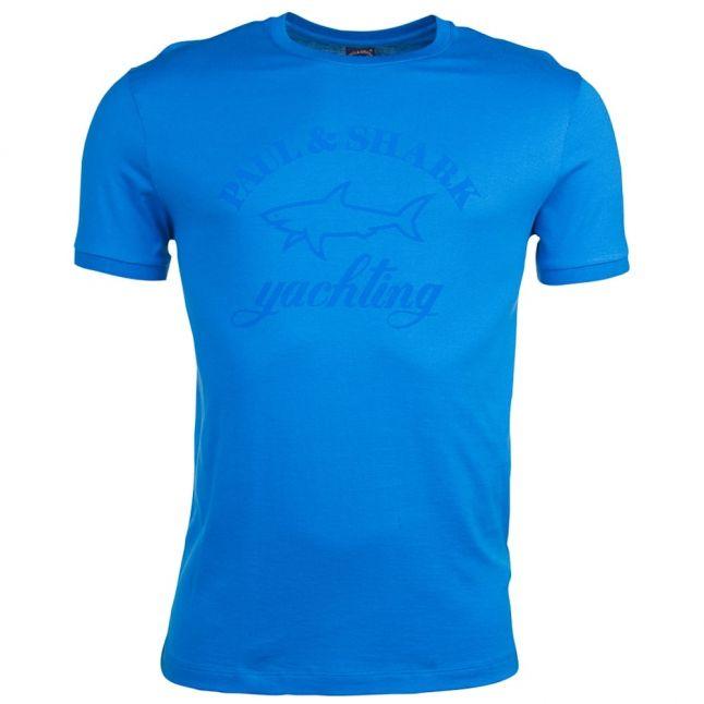 Paul & Shark Mens Blue Tonal Logo Shark Fit S/s Tee Shirt