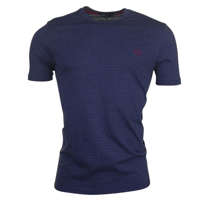 Mens French Navy Marl Textured Stripe S/s Tee Shirt