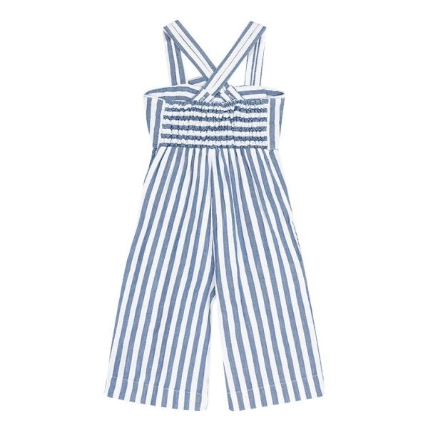 Girls Blue Stripe Bow Jumpsuit