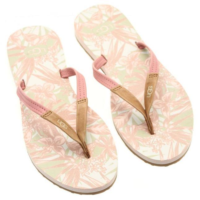 Womens Tropical Blush Magnolia Island Floral Flip Flops