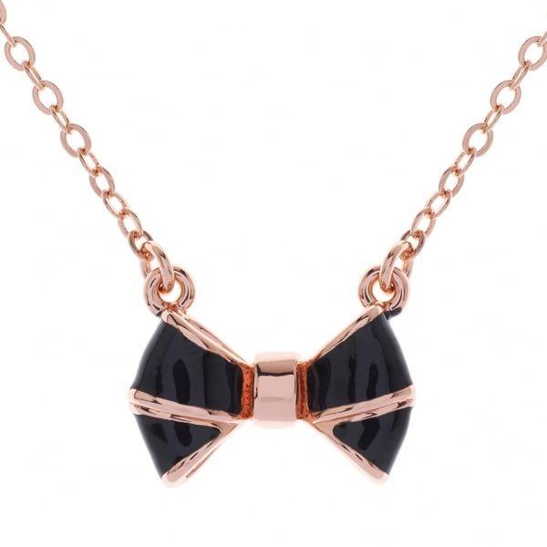 Womens Rose Gold & Black Edda Bow Pendant Necklace