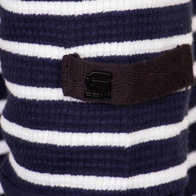 Mens Sartho Blue & Milk Stripe Jirgi striped L/s Tee Shirt